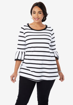 Ponte Bell Tunic, WHITE STRIPE
