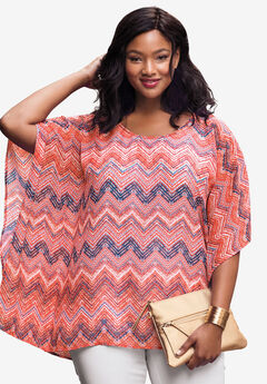 Caftan Top, CORAL ROSE CHEVRON