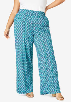 Everyday Stretch Knit Palazzo Pant, NAVY ABSTRACT GEO