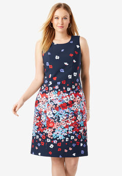 Tummy Control Bi-Stretch Sheath Dress, NAVY FLOATING FLORAL