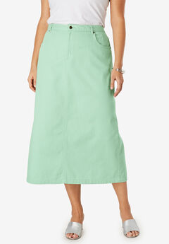 Classic Cotton Denim Long Skirt, CRYSTAL JADE