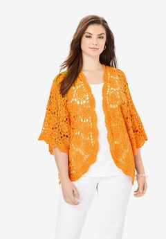 Crochet Cardigan, BRIGHT MELON