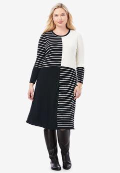 Stripe Midi Sweater Dress, BLACK STRIPE