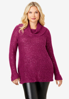 Sequin Cowl Neck Sweater, BERRY TWIST