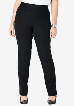 Tummy Control Twill Straight-Leg Pant, BLACK