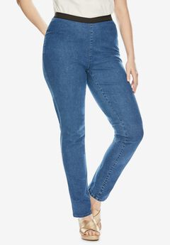 Straight Leg Stretch Denim Jeggings, MEDIUM STONEWASH