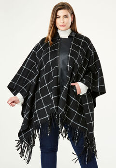 Leather Trim Poncho, BLACK WINDOW PANE