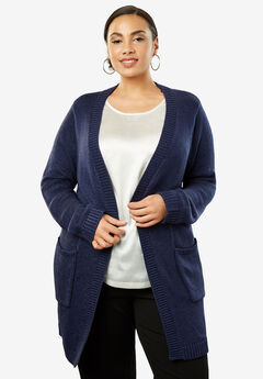 Luxe Shine Cardigan, NAVY
