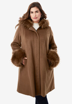 Hooded Faux Fur Trim Coat, NUTMEG
