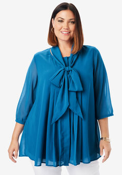 Scarf Pleat Blouse, ISLAND BLUE