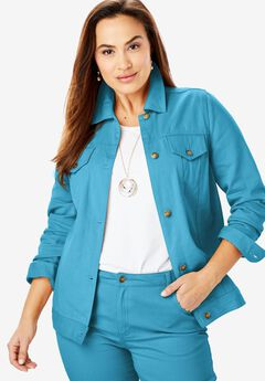 Classic Cotton Denim Jacket, ANTIQUE TURQ