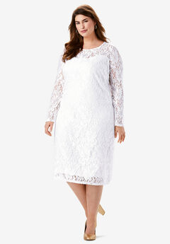 Lace Shift Dress, WHITE