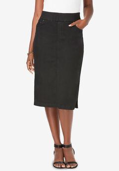 Comfort Waist Midi Skirt, BLACK