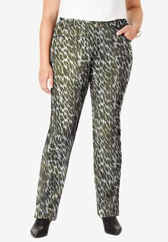 Classic Cotton Denim Straight Jeans, OLIVE GRAPHIC ANIMAL