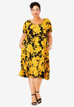 Crossback Trapeze Dress, SUNSET YELLOW BOTANICAL FLORAL