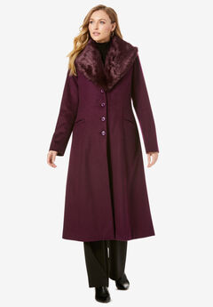 Long Wool-Blend Coat with Faux Fur Collar, DARK BERRY