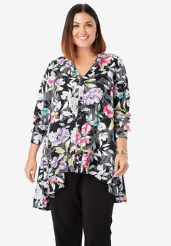 Hi-Low Georgette Tunic, BLACK STRIPE FLORAL