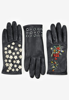 Embellished Leather Gloves, IVORY CUTOUT FLOWER