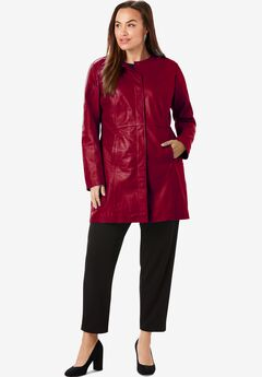 Three-Quarter Leather Jacket, RICH BURGUNDY
