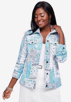 Classic Cotton Denim Jacket, BLUE PATCHWORK