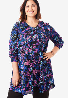 Flyaway V-Neck Tunic, MULTI WISPY FLOWER