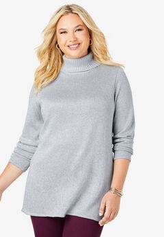 Shimmer Turtleneck, SILVER