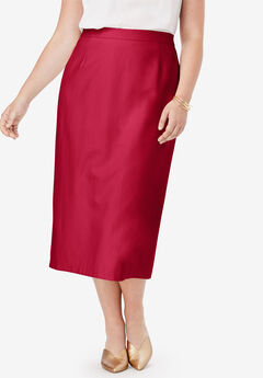 Wool-Blend Midi Skirt, CLASSIC RED