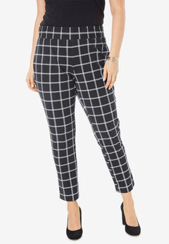 Tummy Control Twill Ankle Pant, BLACK WINDOW PANE