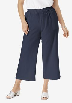 Wide Leg Linen Crop Pant, NAVY