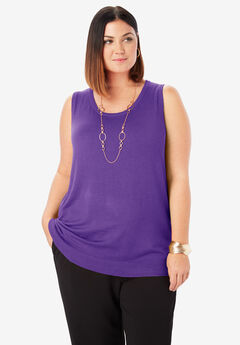 Sleeveless Crew Neck Sweater, TRUE PURPLE