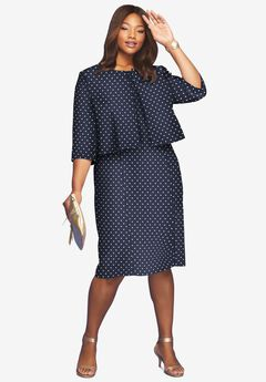Printed Jacket Dress, NAVY IVORY DOT