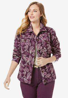 Classic Cotton Denim Jacket, DARK BERRY SKETCH PAISLEY