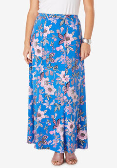 Travel Knit Maxi Skirt, FUCHSIA JACOBEAN FLORAL