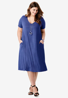 Crossback Trapeze Dress, ULTRA BLUE