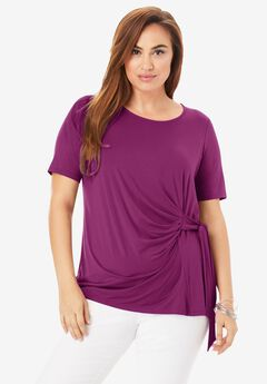 Side-Tie Tee, PURPLE TULIP