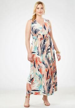 Travel Knit V-Neck Maxi Dress, MULTI FEATHERY FLORAL