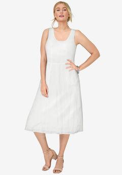 Linen Fit & Flare Dress, WHITE