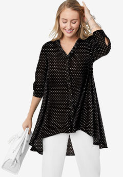 Hi-Low Georgette Tunic, BLACK DOT