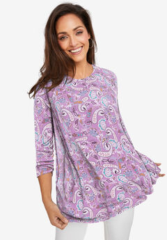 Swing Tunic, VIOLET LAYERED PAISLEY