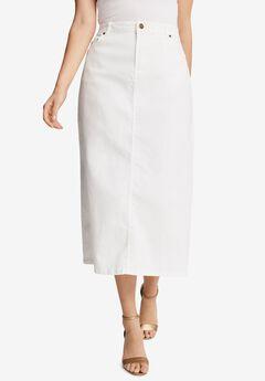 True Fit Denim Skirt, WHITE DENIM
