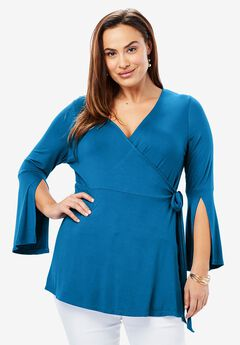 Faux Wrap Tunic, ISLAND BLUE