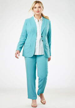 Single Breasted Pant Suit, DUSTY AQUA