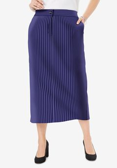 Tummy Control Bi-Stretch Midi Skirt, NAVY PINSTRIPE