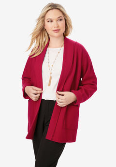 Boiled Wool Shawl Collar Jacket, CLASSIC RED