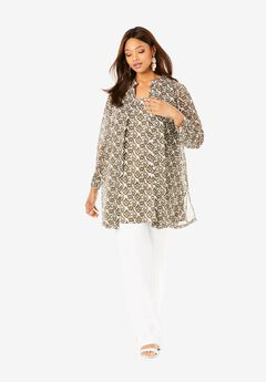 Georgette Button Front Tunic, GREEN GEO IKAT