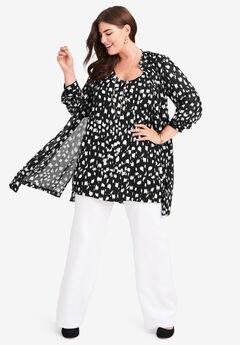 Georgette Button Front Tunic, BLACK VERTICAL PAINT BRUSH