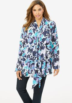 Drape Front Blouse, COOL LAYERED FLORAL