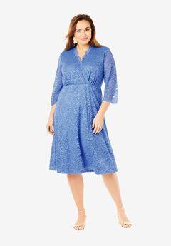 Lace Midi Dress, FRENCH BLUE