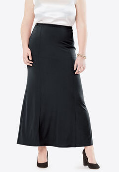 Travel Knit Maxi Skirt, BLACK