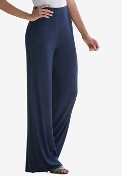 Everyday Stretch Knit Palazzo Pant, NAVY